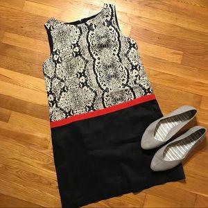 Loft sheath black white red ribbon work dress